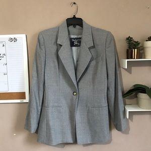 Burberrys Blazer Gray Jacket Virgin Wool Size US 6